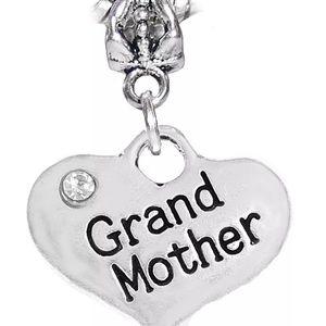 Crystal Grandmother Heart Dangle Charm